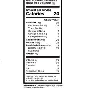 สุดยอดประโยชน์ของอาซาอิ เบอร์รี่ ช่วยบำรังผิว ความจำ ควบคุมน้ำหนัก วิตามินสูงTREASURE organic Acai berry powder 100g nutrition fact