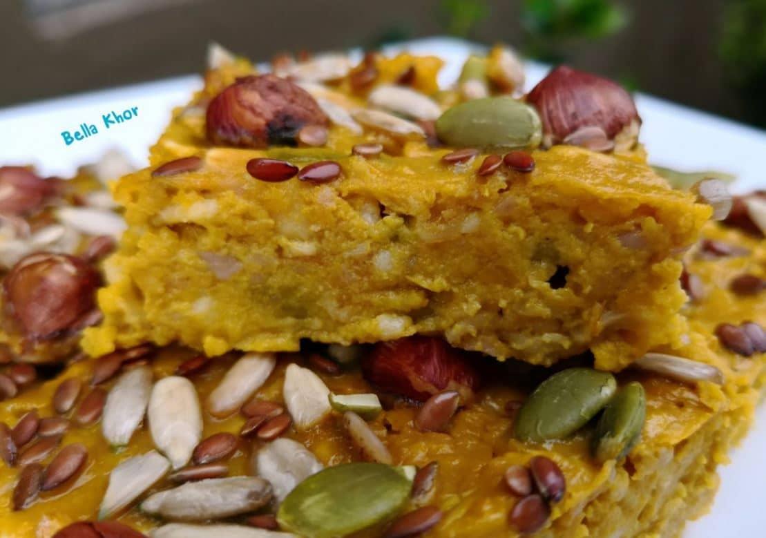 เบเกอรี่แคลอรี่ต่ำ กินไม่อ้วน เค้กฟักทองเพื่อสุขภาพ organic flaxseeds