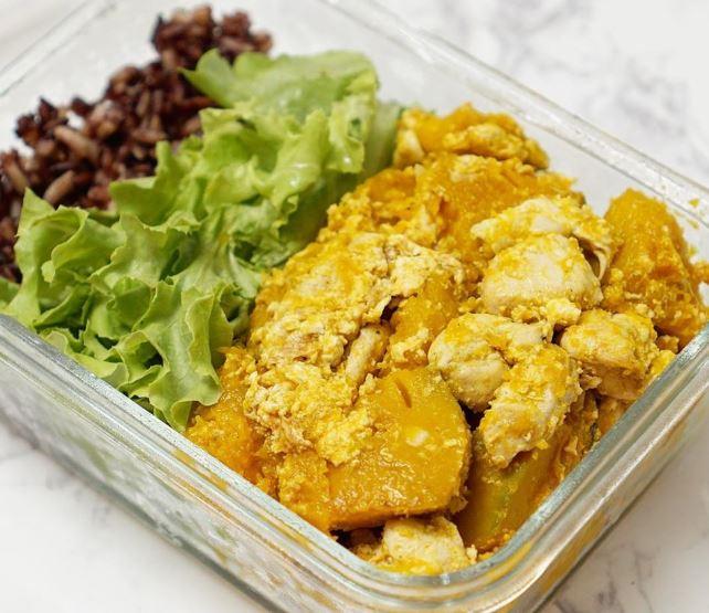 ฟักทองผัดไข่อกไก่ วิธีทำ ไอเดีย อาหารคลีน Healthplatz online organic superfoods store healthy menu