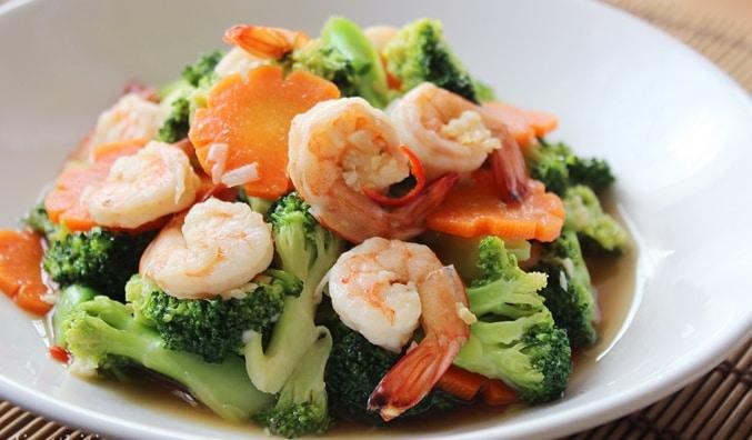 กุ้งผัดบรอคโคลี shrimp broccoli ไอเดีย อาหารคลีน Healthplatz online organic superfoods store healthy menu