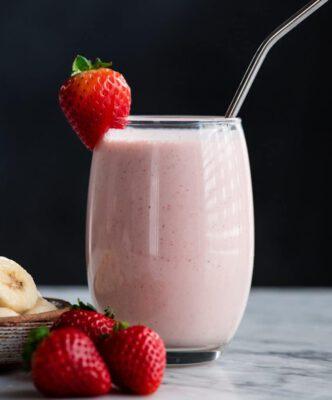 สูตรสตรอเบอร์รี่ กล้วย พีโปรตีนถั่วลันเตา pea protein powder recipe-Healthplatz TREASURE superfoods